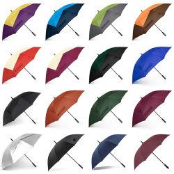 초대형 30인치 직선형 자동 개방형 오버사이즈 이중 캐노피 성인용 / 프로모션 / 프린트 / 브랜드 / 선물용 통기성 스틱 방풍 방수 레인 골프 우산