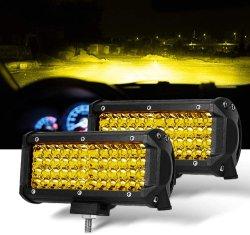 أغطية إضاءة LED باللون الأصفر لضوء Spot Beam قياس 7 بوصات مصابيح القيادة مصابيح الضباب مصابيح العمل إضاءة كواد أمامية بلون كهرماني لشاحنة Jeep Offroad ATV UTV