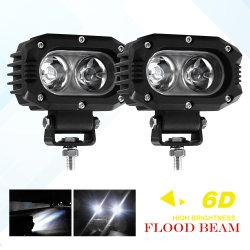 مصباح إضاءة مصباح الضوء الموضعي 6D لجهاز العرض، والضوء العالي للعدسة ذات اللون الكهرماني الأبيض 20 واط، 4 بوصات، ضوء ATV UTV، أضواء قيادة LED للدورات الآلية للسيارة خارج الطريق