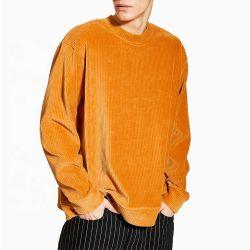 OEM all'ingrosso Hoodie del pullover della maglietta felpata del velluto a coste e del velluto della senape per l'abitudine Hip Hop degli uomini