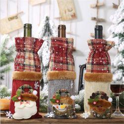 Venda a quente novas decorações de Natal Roupa Tartan Garrafa de Vinho Tinto tampa da garrafa de champanhe Bag Venda quente de Novo Produto
