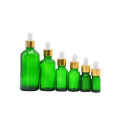 5 ml 10ml 15ml 20ml 30ml 50ml 100ml cosmétique de l'emballage vide vert clair Euro Huile Essentielle ronde parfum bouteille en verre avec bouchons et compte-gouttes de verre