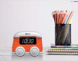 Design de desenhos animados presente de promoção do barramento do carro alarme do relógio LCD digital para crianças e as crianças