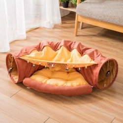 Foldable猫のトンネル猫の道の圧延の地上のドラゴン猫のクッションのベッド