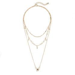 Einfache Frauen Multi Layer Choker lange Halskette mit Stern Charme