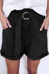 여름철에 편안한 부드러운 캐주얼 쿠트 페이퍼백 여성용 블랙 쇼츠