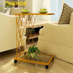 Onenoe تصميم حديثة وفريدة معدنية مستطيلة الشكل طاولة جانبية السقف الزجاجي