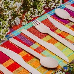 100%のオリジナルの生態学のシラカバ木は食事用器具類のナイフのフォークのスプーンを作った