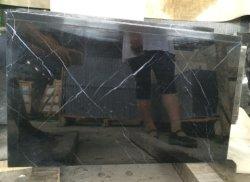 Nero Marquina de alta qualidade azulejos em mármore negro, lajes de mármore