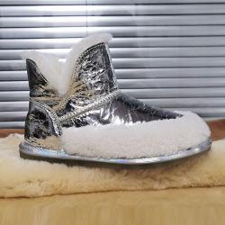 Schoenen van de Vrouwen van de Winter van de Manier van de douane de Waterdichte met Schoenen van de Dames van de Laarzen van de Sneeuw van het Bont van het Leer van de Prijs van de Fabriek de Echte Toevallige Glanzende