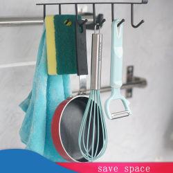 Черный и белый утюг 6 крюки Подстаканник висящих вешалки в ванной комнате кухня организатор двери распределительного шкафа для установки в стойку для хранения снятых Полки интерьера
