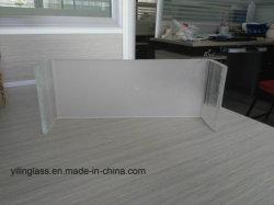Sandblasted temperado em forma de ferro de baixo perfil em U para fins decorativos de vidro na parede lateral de terra para trás