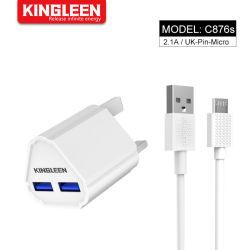 UK Broche adaptateur 10W de charge rapide Micro double kit de câble USB 2.0, (Fast accueil chargeur mural + câble Micro) pour téléphone mobile