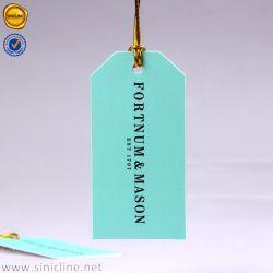 Sinicline Die-Cut couleur turquoise Eco Friendly Hang Tags avec l'or Cordon élastique