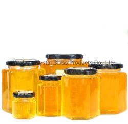 45ml-750ml conteneur hexagonale en verre alimentaire pot de verre de miel avec couvercle de métal