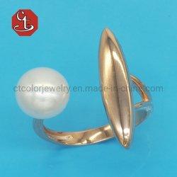 流行のレトロの金属の開いた幾何学的なサイズ調整ができるリングの真珠の石の党ギフトのためのパンクの淡水の真珠のリングの宝石類