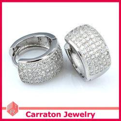 Commerce de gros de bijoux en argent russe CZ Micro ouvert Huggies Earring