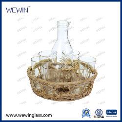 7 PCS conjunto vaso de bebidas de vidro garrafa de vidro com base Salgueiro
