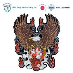 大型カスタム頭骨のワシの刺繍の紋章
