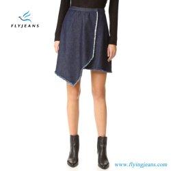 おおわれていた非対称的なデザインの方法女性かすり切れる女の子のデニムの小型スカートは研ぐ(ジーンズE.P. 512)