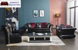 Sofà esagerato lussuoso 1 del cuoio genuino del sofà di svago del sofà della mobilia della casa del salone di Chesterifeld del tessuto d'angolo moderno italiano cinese del velluto 1 2 3