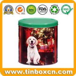 Round metal de estanho Natal Caixa de oferta de presentes de Natal promocionais