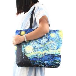여성용 숄더 백 재사용 가능한 쇼핑 백 대용량 여성 핸드백 여아 여행 취학 가방 포장 토트