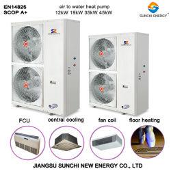 Intelligentes Steuerluft-Quellwärmepumpe inländische drei in einem System (heating+cooling+hot Wasser)