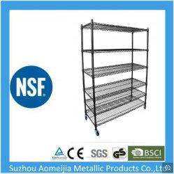 6 уровней черного эпоксидным покрытием Adjutable стали NSF провод стеллажей для разных материалов и гараж для установки в стойку для хранения