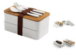 Double couche récipient alimentaire avec couvercle de boîte de rangement des aliments de bambou Four micro-ondes boîtes Bento vaisselle Lunchbox sangle de sécurité avec la fourche, cuillère et le couteau