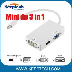 سعر المصنع لـ 3 في 1 منفذ شاشة صغير Thunderbolt محول DP إلى HDMI DVI VGA