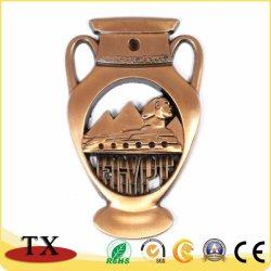 Las atracciones de Egipto, imán de nevera de metal dorado