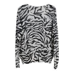 긴 소매, 인쇄해 얼룩말, 투명한 결과 18gg를 가진 Knitted Pullover 숙녀의