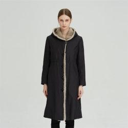 L'hiver 100% soie manteau de fourrure de vison Nick Hooded Jacket Parka Vêtement Femme