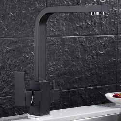 Orifício único de latão Preto moderno de montagem em bastidor Água Potável 3 forma purificada torneira da cozinha Misturador do dissipador de calor