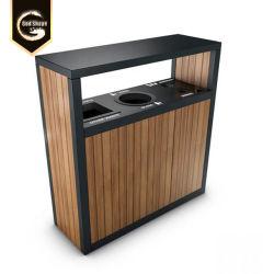 Ecológica Three-Stream OEM comercial residuos y reciclaje la Papelera en acero inoxidable pulido con compartimento
