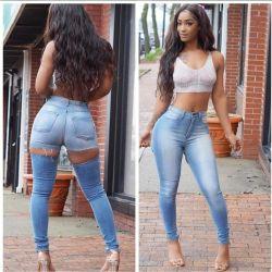 Apretados Jeans Sexy Hip-Lifting con agujeros en el culo