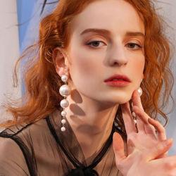 Natürlicher Frischwasserperlen-Absinken-Ohrring-Goldkreis-wulstige lange baumeln Ohrringe Boho Ohrringe für Form der Frauen-2020