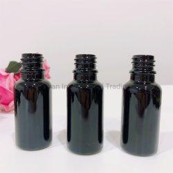 زجاجة زجاج لامع أسود اللون سعة 20 مل مصنوعة من الزجاج الأصلي قنينة زيت عطور Serum Essential مع قطارة من الألومنيوم البلاستيكي الغطاء