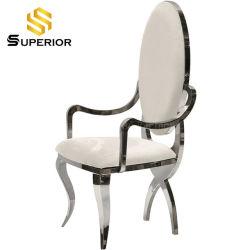 Comercio al por mayor de estilo americano, el bastidor de metal plateado de comedor silla de cuero