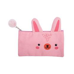 キャンバスの動物のウサギはテール形のジッパーの引き手が付いている筆箱を設計した