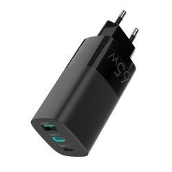 هاتف محمول Pd3.0 من جهة التصنيع طراز Travle بقدرة 65 واط مزود بمنفذ USB سريع محمول شاحن USB-C مكتبي ثنائي المنفذ من نوع Gan Wall