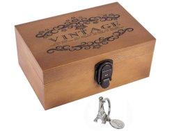 """Boîte en bois Sicohome souvenir, 8,5"""" Boîte d'artisanat en bois décoratifs avec verrou et clé pour boîtier de stockage de cadeaux de bijoux et décoration d'accueil, naturel"""