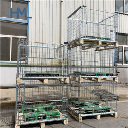 Euro entrepôt en vrac personnalisé de haute qualité rigide métal pliante pliable Wire Mesh palette Cage avec palette en bois