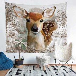 Четырех Сезонов полиэстер гобелен с 3D-печати мультфильм оленя Elk план