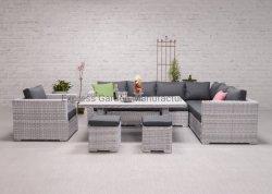 Mobilia di vimini fatta a mano per qualsiasi tempo stabilita 7PCS Tenessee della Tabella pranzante dello strato del sofà di conversazione esterna patio d'angolo mobilia moderna