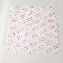 Los alimentos sanos grado envolviendo un pañuelo de papel recubierto de cera con el logotipo personalizado