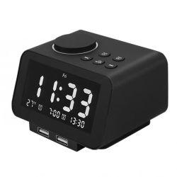 La radio digital LCD Escritorio Reloj Despertador con carga USB termómetro