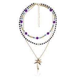 Halsband van de Laag van de Tegenhanger van de Kokospalm van de Ketting van het Sleutelbeen van de Juwelen van de manier de Boheemse Gekleurde Grensoverschrijdende Multi