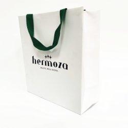 Простой и элегантный белый крафт-бумаги или сумку с нижней части складывания крыльев